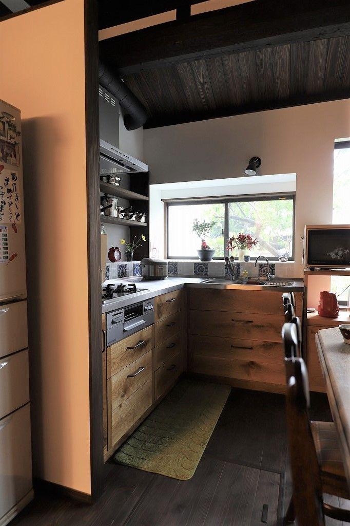 古民家キッチンリフォーム L型キッチン L型キッチン 和モダン