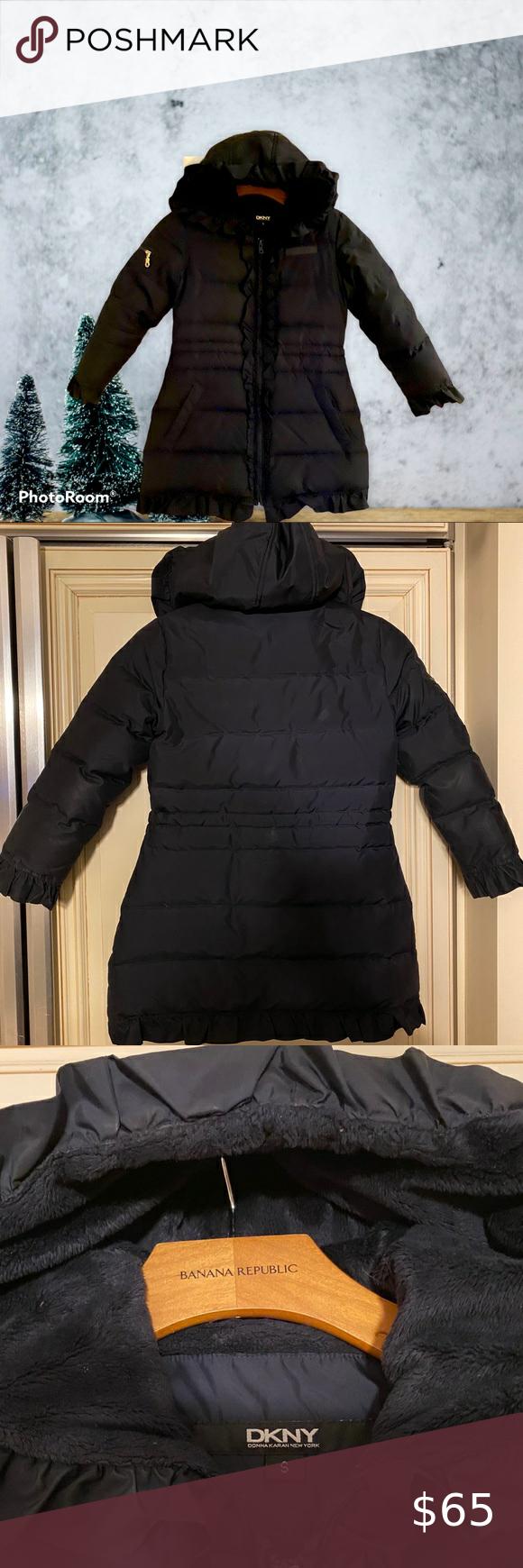 Super Cozy Dkny Girls Ruffle Puffer Coat Size S Girls Puffer Coat Toddler Coats Girl Toddler Winter Jackets [ 1740 x 580 Pixel ]
