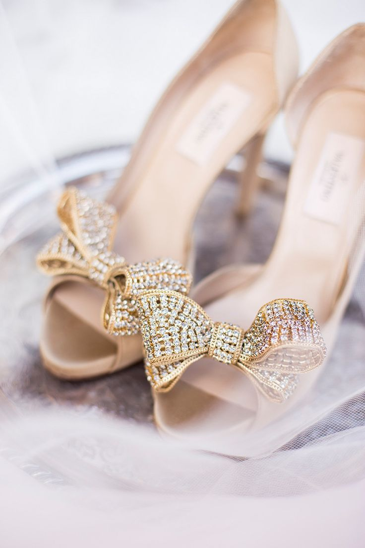 gold crystal Valentino bow pumps, wedding shoes http ...