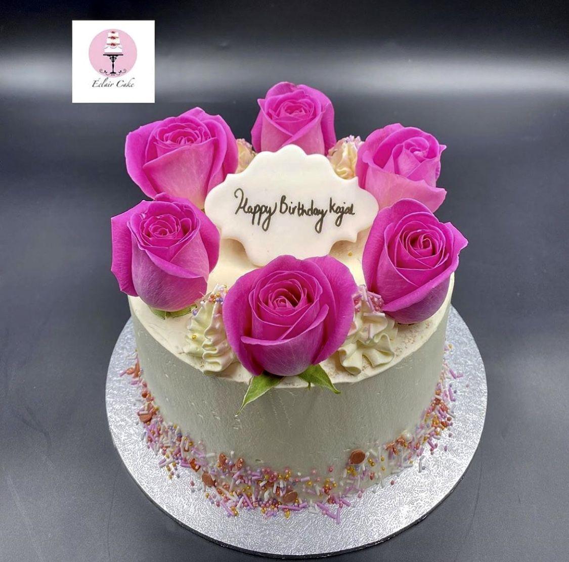 Happy Birthday Kajal Fresh Flower Cake Cake Bakery Cakes