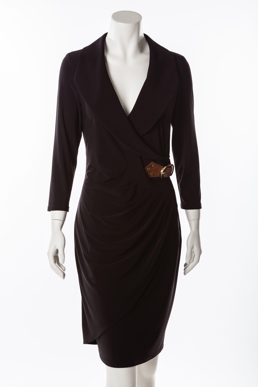 Cocktailkleid Schwarz Knielanges, schwarzes Kleid mit 3/4 langem Arm ...