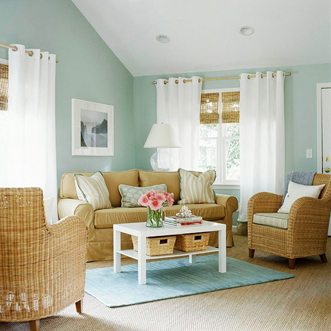 Light Blue And Green Living Room sky blue and white scheme color ideas for living room decorating