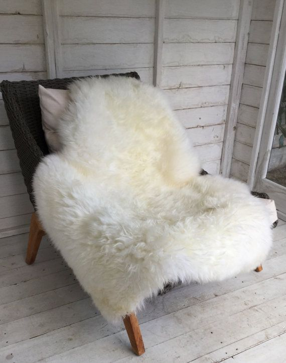 XL Ivory / Off White Gorgeous Sheepskin Rug Throw By Swedishdalahorse  #TrendingEtsy