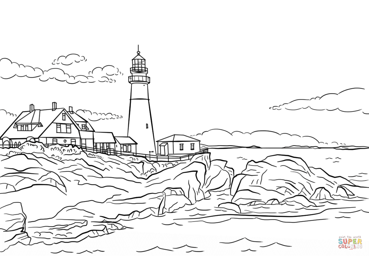Portland Lighthouse Maine Coloring Page From Buildings Category Select From 26999 Printable Crafts Of Cartoons Coloring Pages Lighthouse Drawing Lighthouse