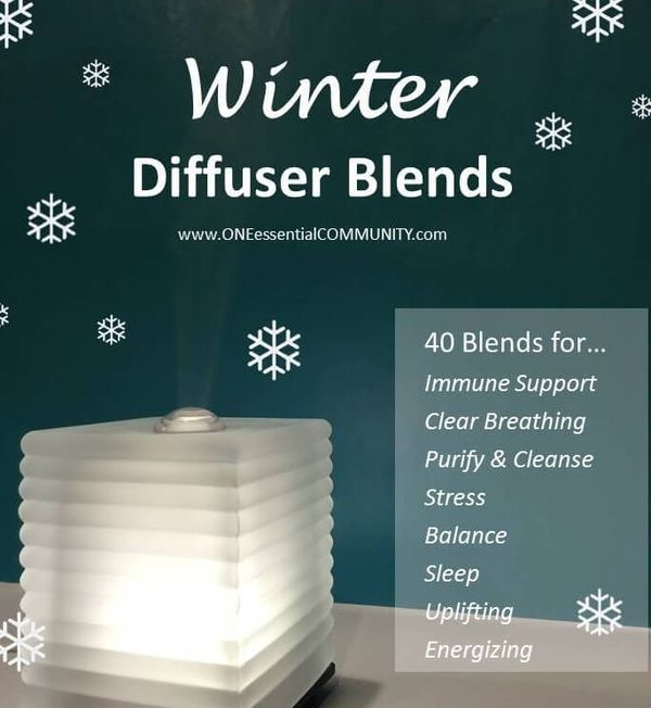 Winter Diffuser Blends our favorite 40 winter diffuser blends grouped by their therapeutic benefits: immune support, clear breathing, purify & cleanse, reduce stress, emotional balance, sleep, uplifting & happy, and energize. #winterdiffuserblends