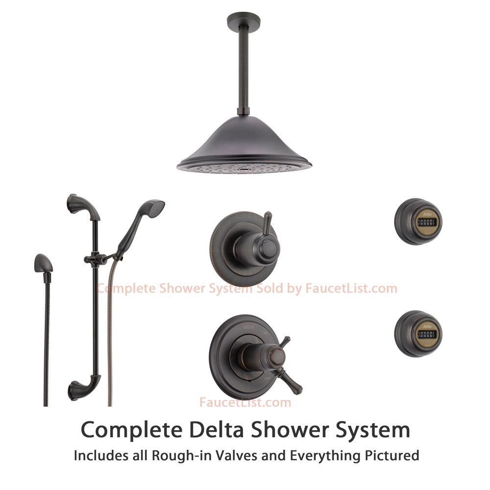 Delta Cassidy Venetian Bronze Shower System With Thermostatic