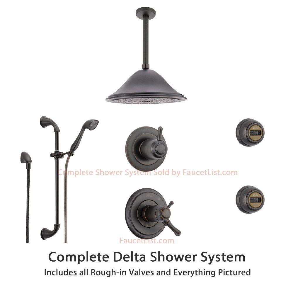 delta cassidy venetian bronze shower system with shower handle 6setting diverter - Delta Cassidy