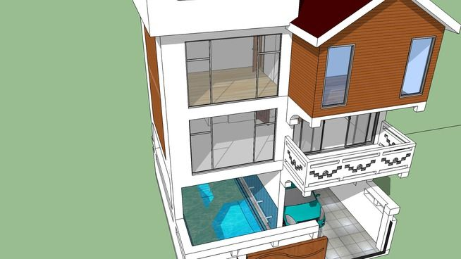 Small Plot House Minimalist Design With Swimming Pool Car Park House Built Parking Design Swimming Pools