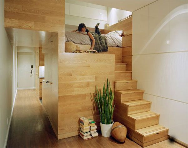 genius space planning in this tiny studio apartment!! I love the lofty lay out!!