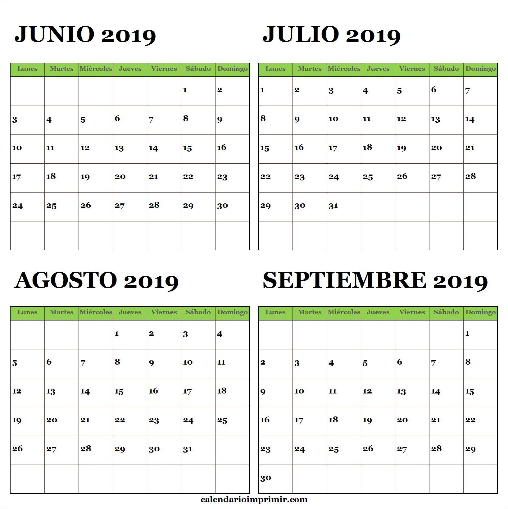 Calendario 2019 Julio Agosto Y Septiembre.Calendario Junio Julio Agosto Septiembre 2019 Lunes A
