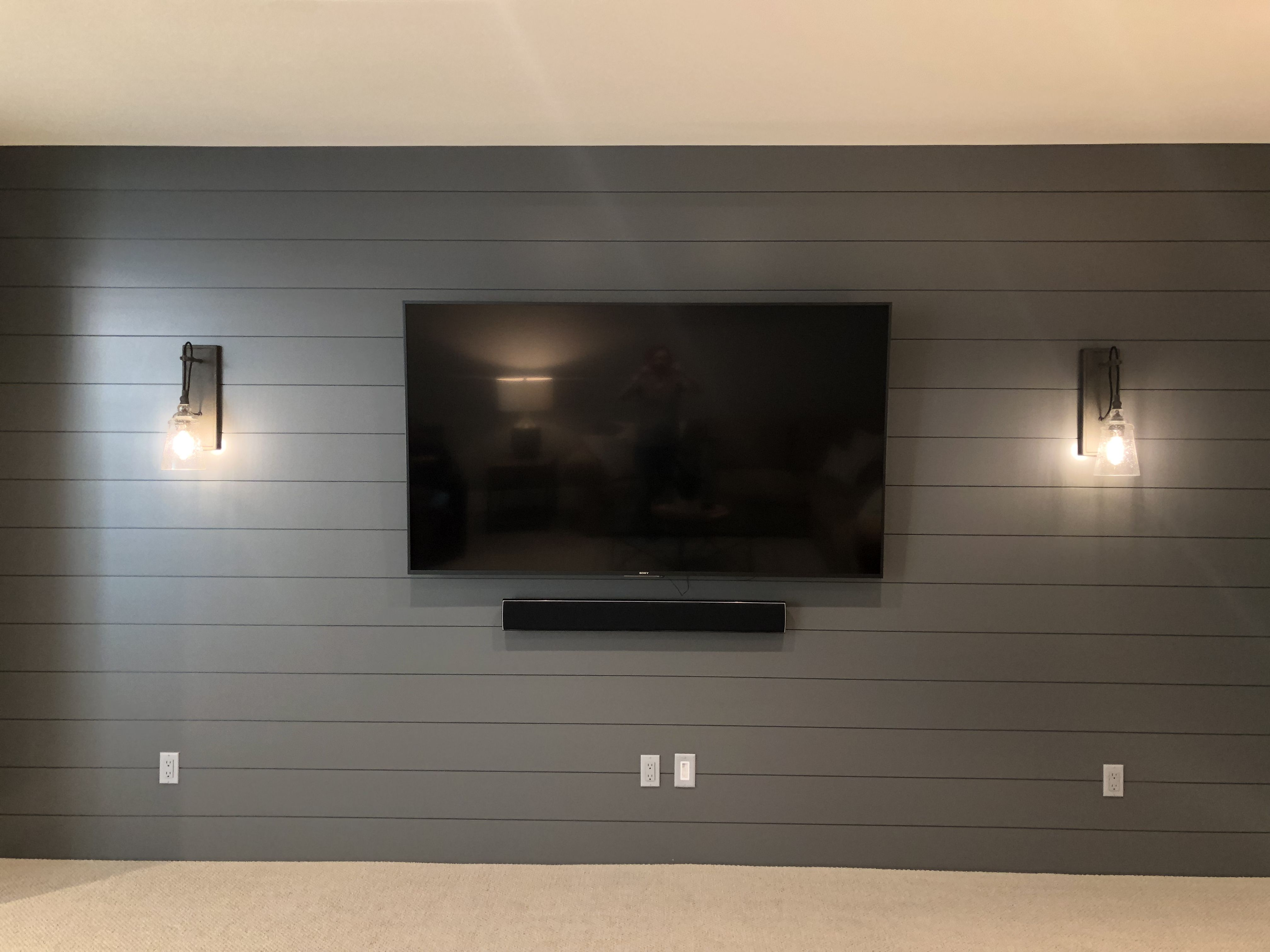 Dbc Home Shiplap On Tv Wall Accent Walls In Living Room Basement Living Rooms Basement Makeover