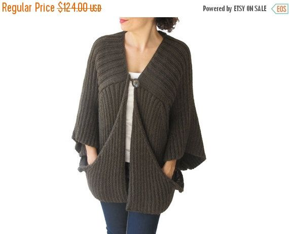 Brown Cardigan with Big Pockets by Afra Plus Size Over Size   Yarns
