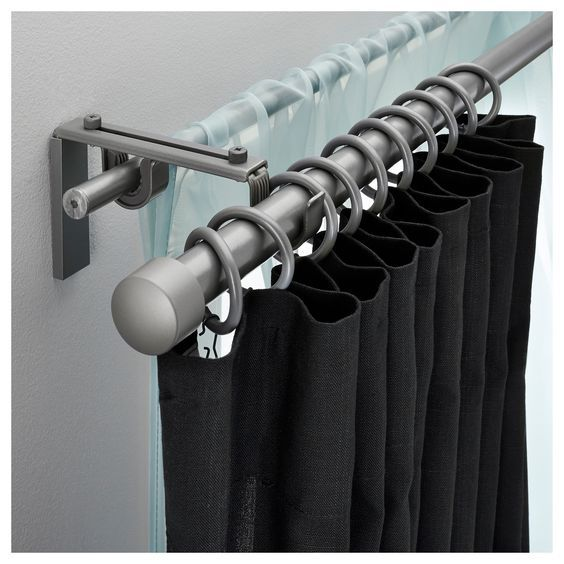 RACKA HUGAD Double Curtain Rod Set IKEA Affordable System For Sheer Plus Blackout