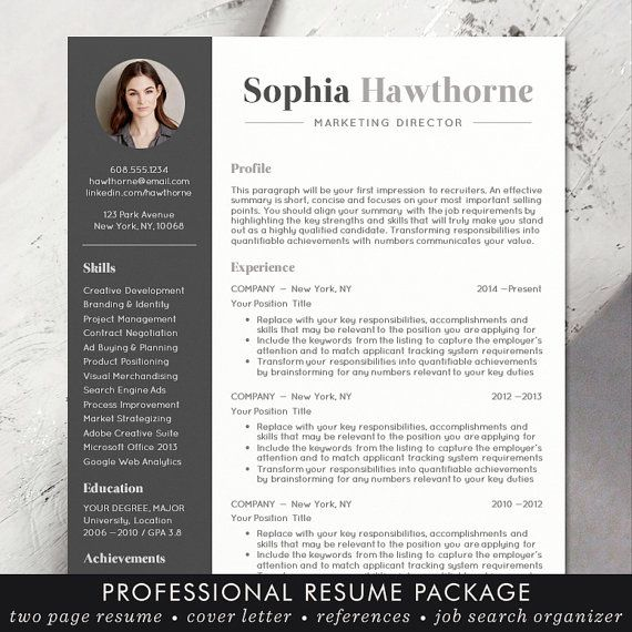 Resume Template with Photo - Professional, Modern, CV, Word, Mac or ...