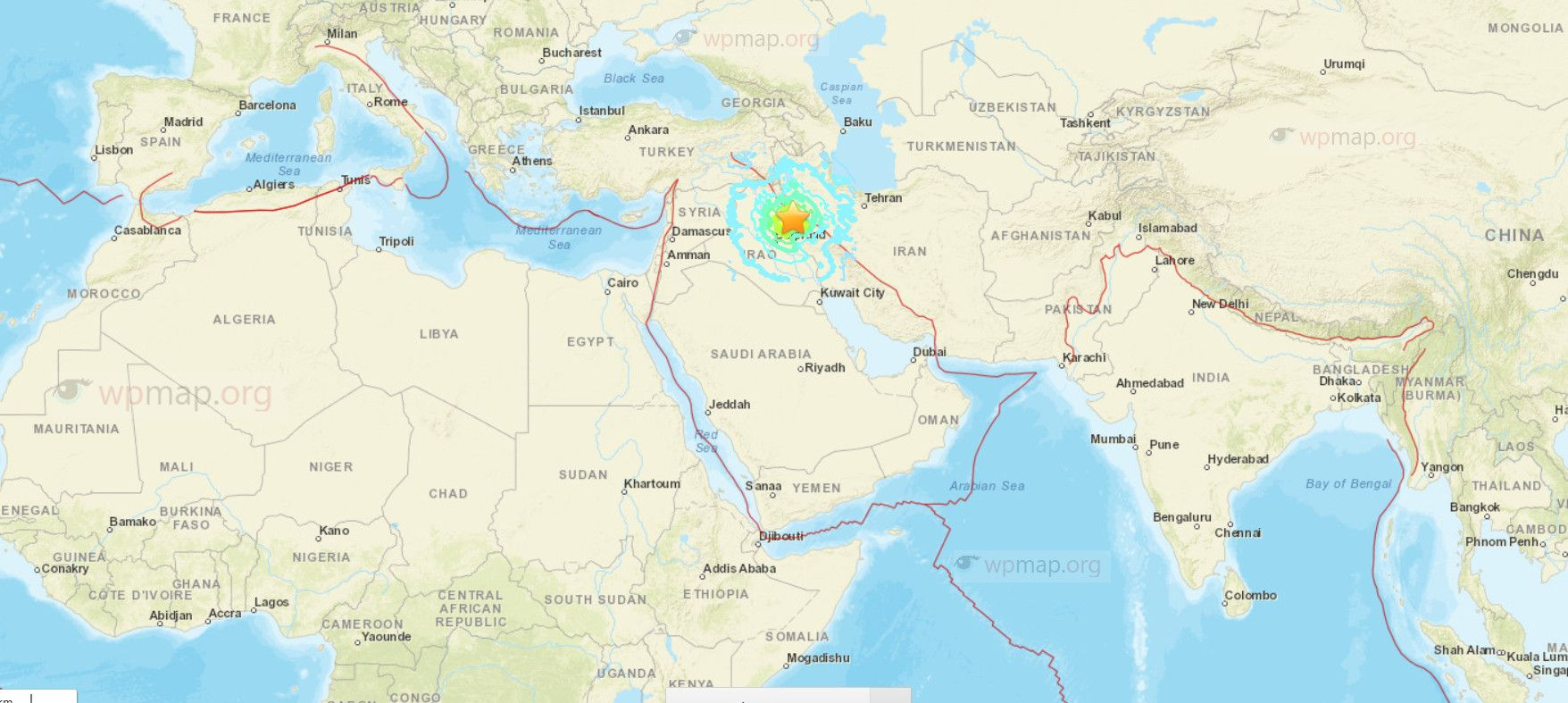 Sulaymaniyah earthquake map maps pinterest earthquake map sulaymaniyah earthquake map a huge earthquake magnitude has struck near the iraniraq border and been felt as far away as turkey kuwait and the gumiabroncs Image collections