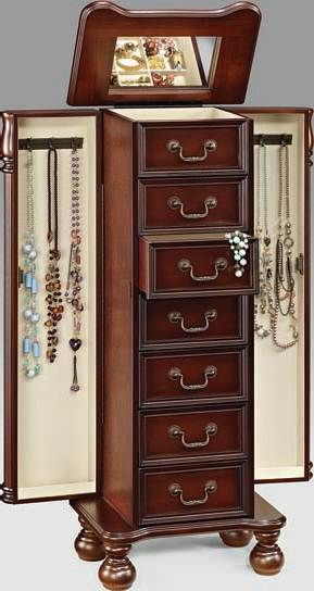 Lopez Cherry Jewelry Armoire By Acme Furniture
