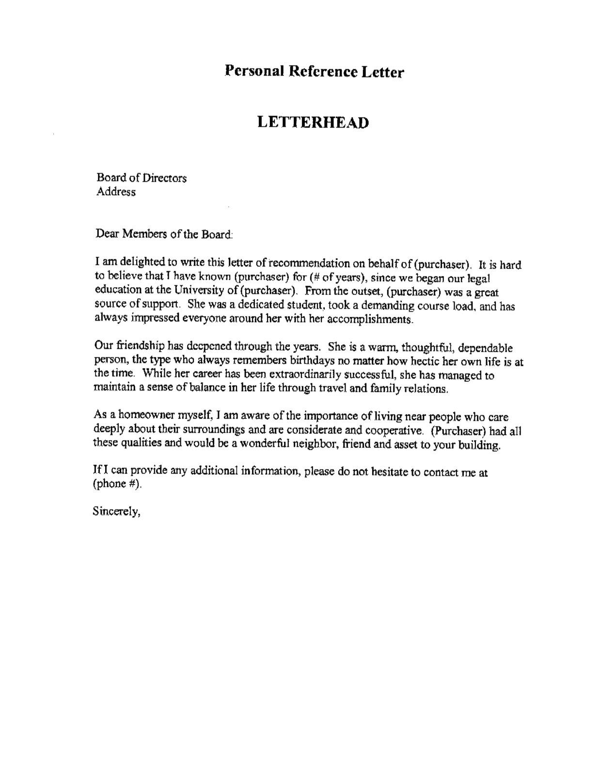 Business Letter Of Recommendation Template