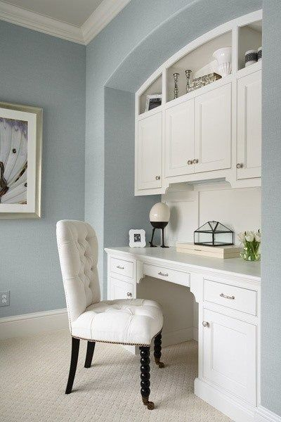 home office...love the soft colors and simple storage...