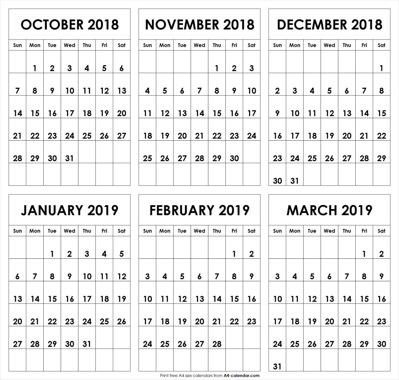 October 2018 To March 2019 October Calendar March