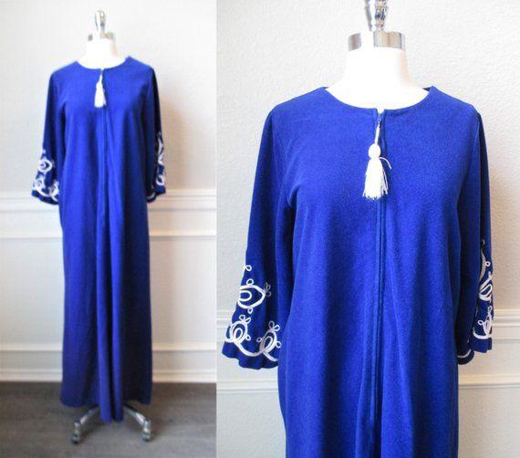 3105729ba004 Royal Blue Zip Front Robe Tiffany Loungewear Blue Velour with Tassel Zip  Pull Lounger Bath Robe Sz S