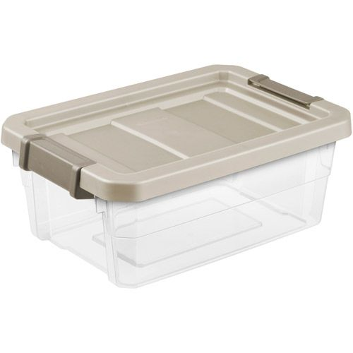 Sterilite 4 Gallon Stacker Storage Bins Clear Nickel Set Of 6 32 82 Sterilite Storage Bins Storage Box
