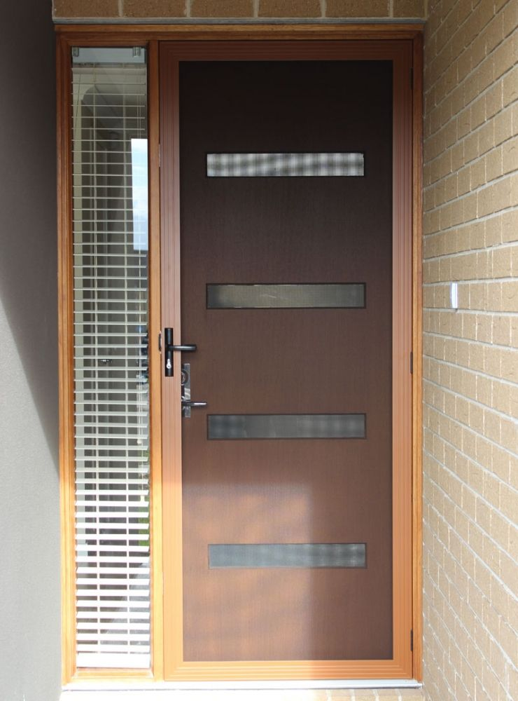 Timber Look Frame Stainless Steel Security Door By Sunrise