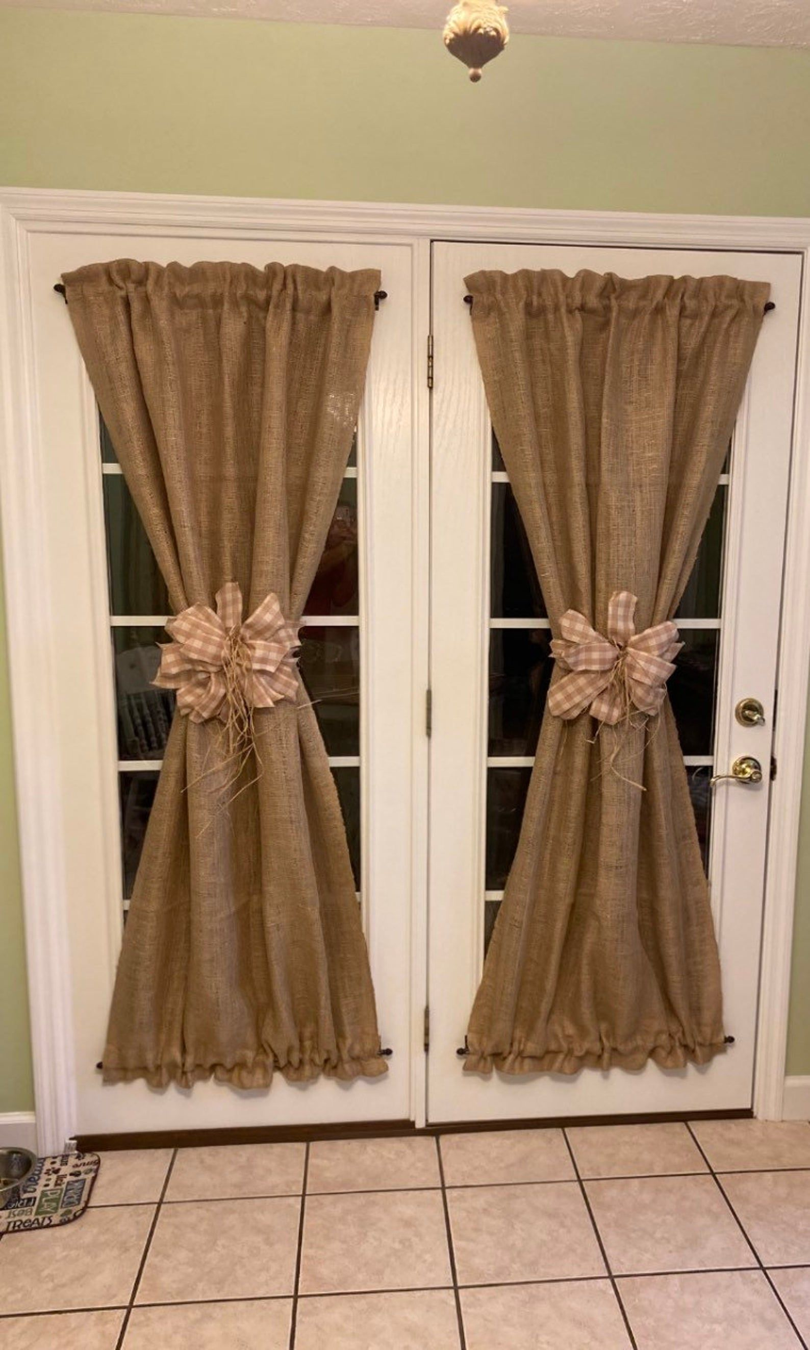 Set Of 2 Natural Burlap French Door Curtains Country Farmhouse Etsy In 2020 Curtain Designs For Bedroom Living Room Panelling Farm House Living Room