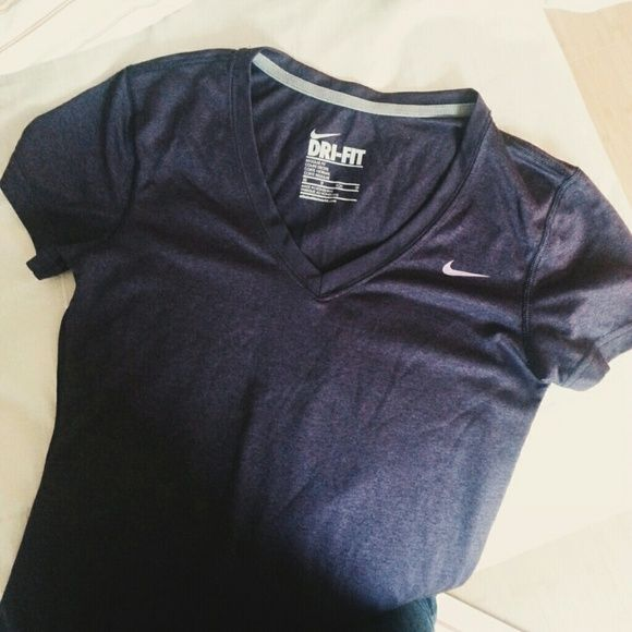 Purple Nike Dry-Fit Vneck. purple swoosh Nike Tops Tees - Short Sleeve