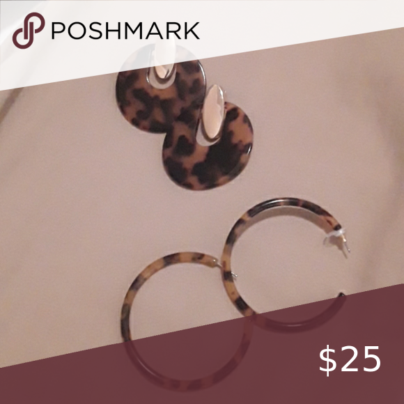 2 pairs of Tortoise earrings Hoops are from j crew and no source on the other pa…