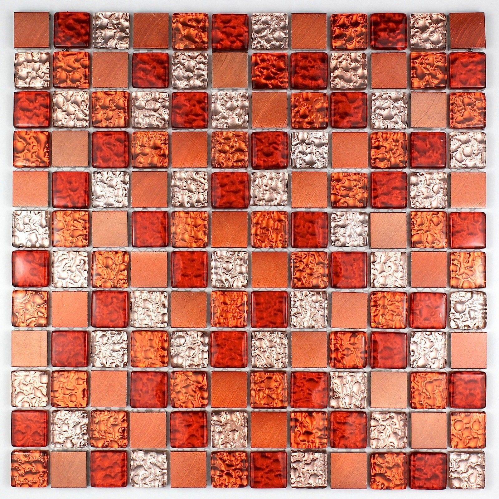 Mosaique aluminium et verre credence cuisine douche cm-nomde-orange ...