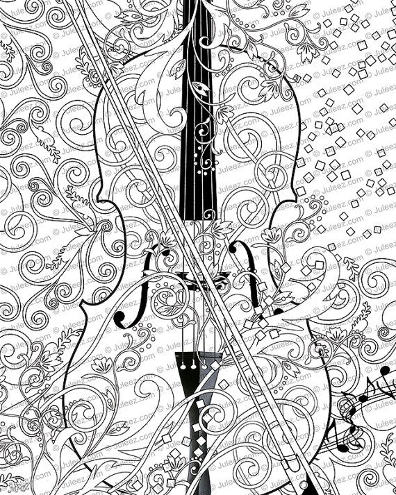 Printable Coloring Poster, Adult Coloring Page, Music Art Coloring ...