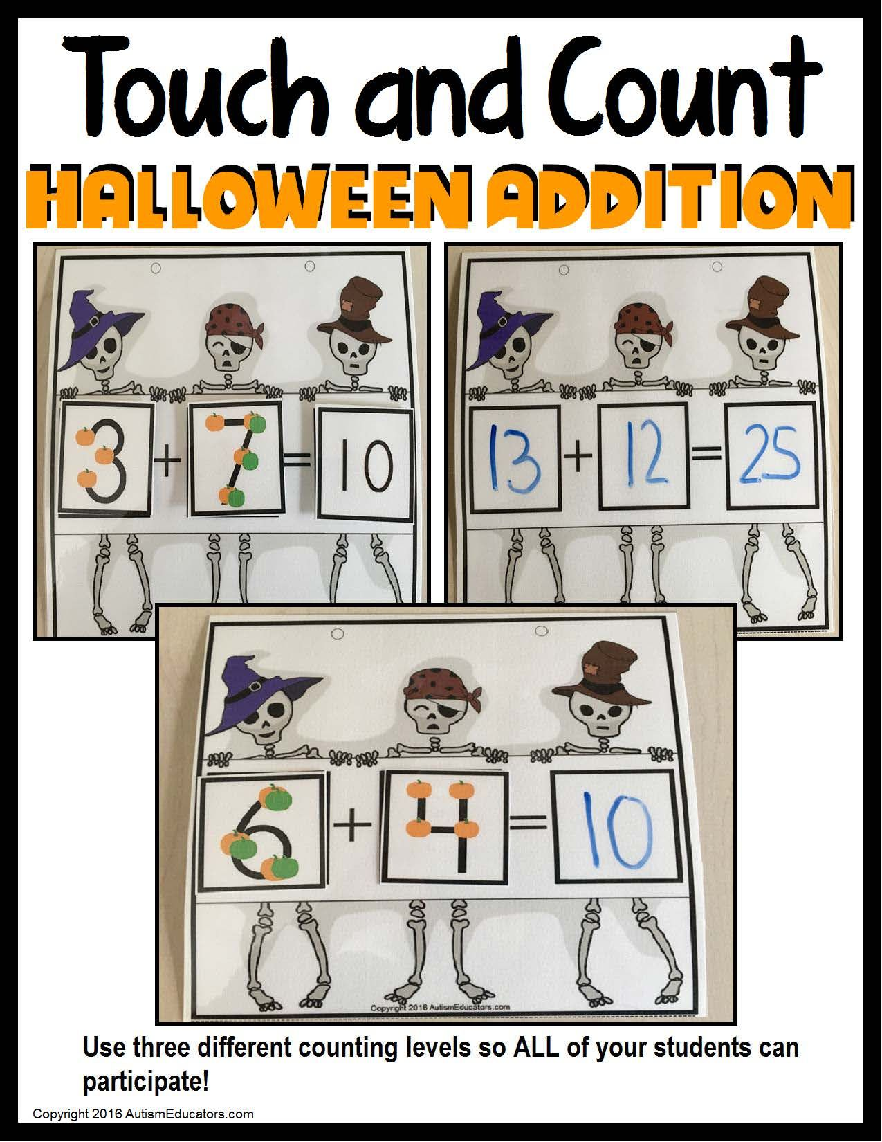 Halloween Math Touch And Count Addition Using Touch Math