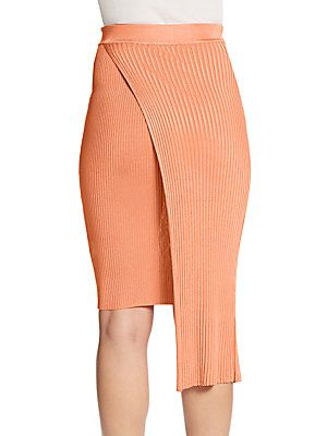 Sol Asymmetrical Overlay Ribbed Knit Skirt - SaksOff5th