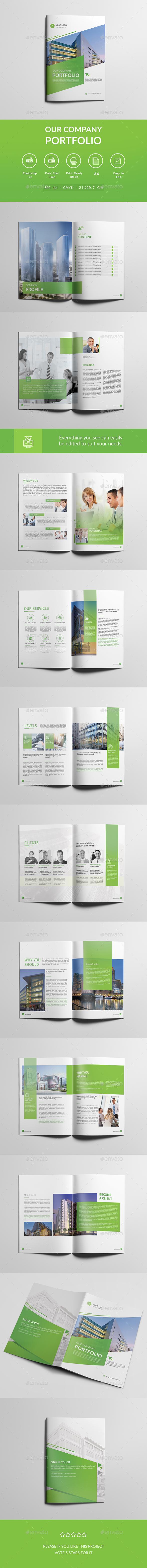 Company Profile Brochure Psd Template Green Portfolio Corporate Brochure Design Brochure Design Template Company Profile Design