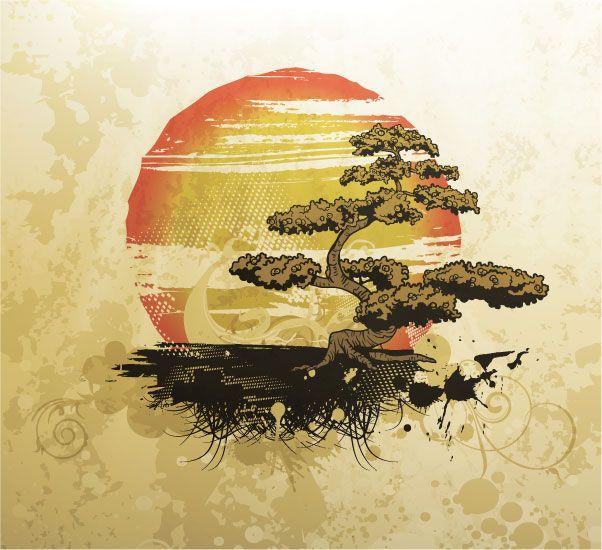 Asian Tattoos Illustrations: Free Bonsai Tree Vector Illustration