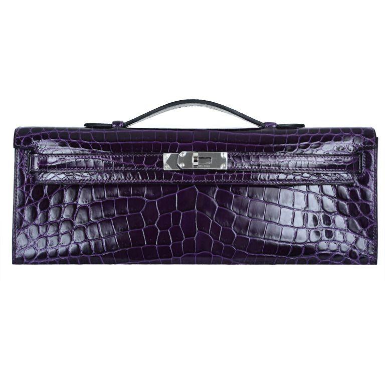 4172a7bb9a9c ... where to buy 1stdibs hermes crocodile bag kelly cut clutch pochette  amethyst shiny pall hardware 2b2ff