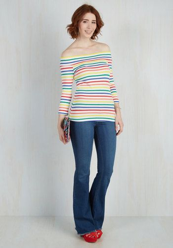 Secure a window seat at your favorite coffee shop in this colorful top - a tried-and-true garment that's part of our ModCloth namesake label! Boasting rainbow stripes, 3/4-length sleeves, and a flirty, off-the-shoulder silhouette, this soft knit tee is a sweetly stylish treat.
