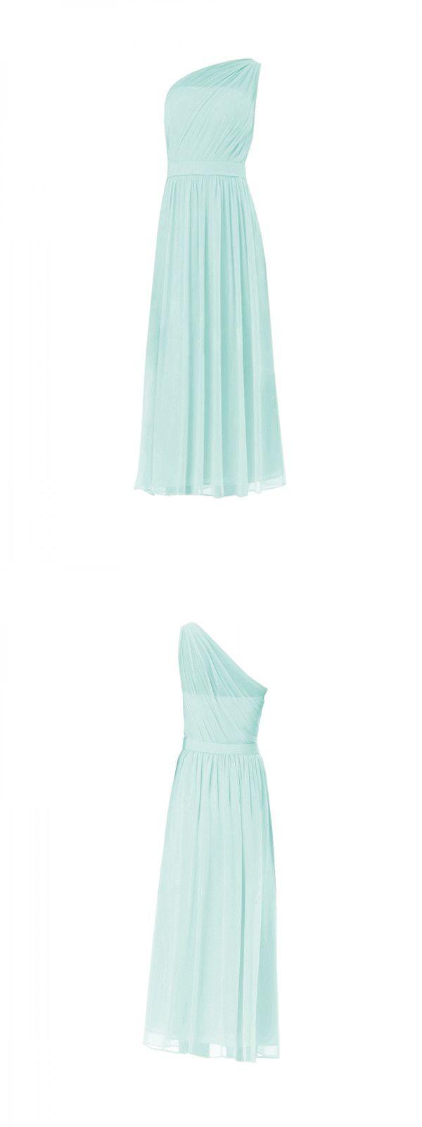 Aline one shoulder floorlength sleeveless chiffon bridesmaid