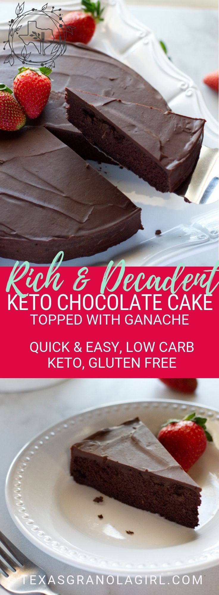 Keto Chocolate Cake with Ganache If you are a chocolate lover like me, this Keto Chocolate Cake topped with Ganache is going to be your new obsession! Intense, rich and decadent…everything you dream of in the perfect chocolate cake…and to top it off, it's gluten free, grain free and low carb! Perfect for Valentine's Day or any special occasion when nothing but chocolate will do! Low carb, gluten free and keto friendly!