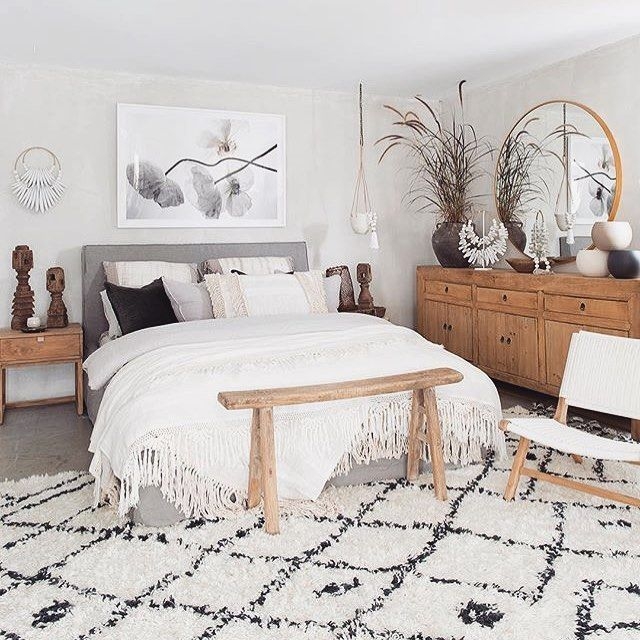 Bedroom Boho White Dresser Wood Rug