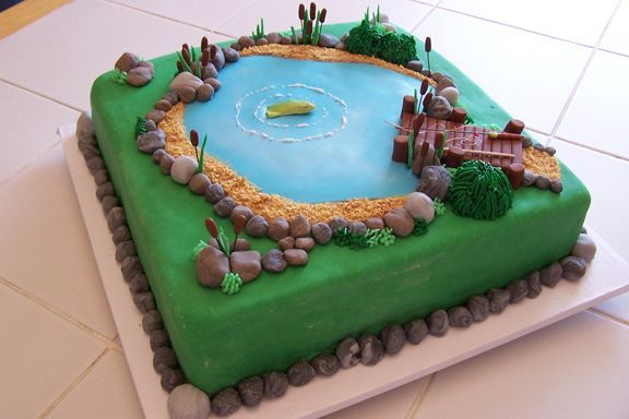 Grooms cakes with a fishing theme in fishing themed for Fishing cake decorations