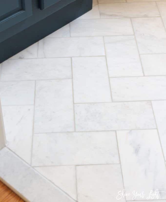 Large Herringbone Marble Tile Floor - How To DIY It For Less