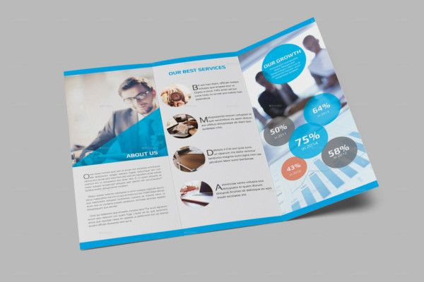 Infographic Tri Fold Brochure Template  Des Have Industrial Look