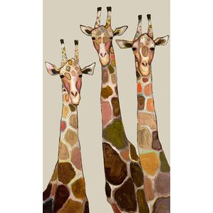Three Giraffes on Cream Canvas Print