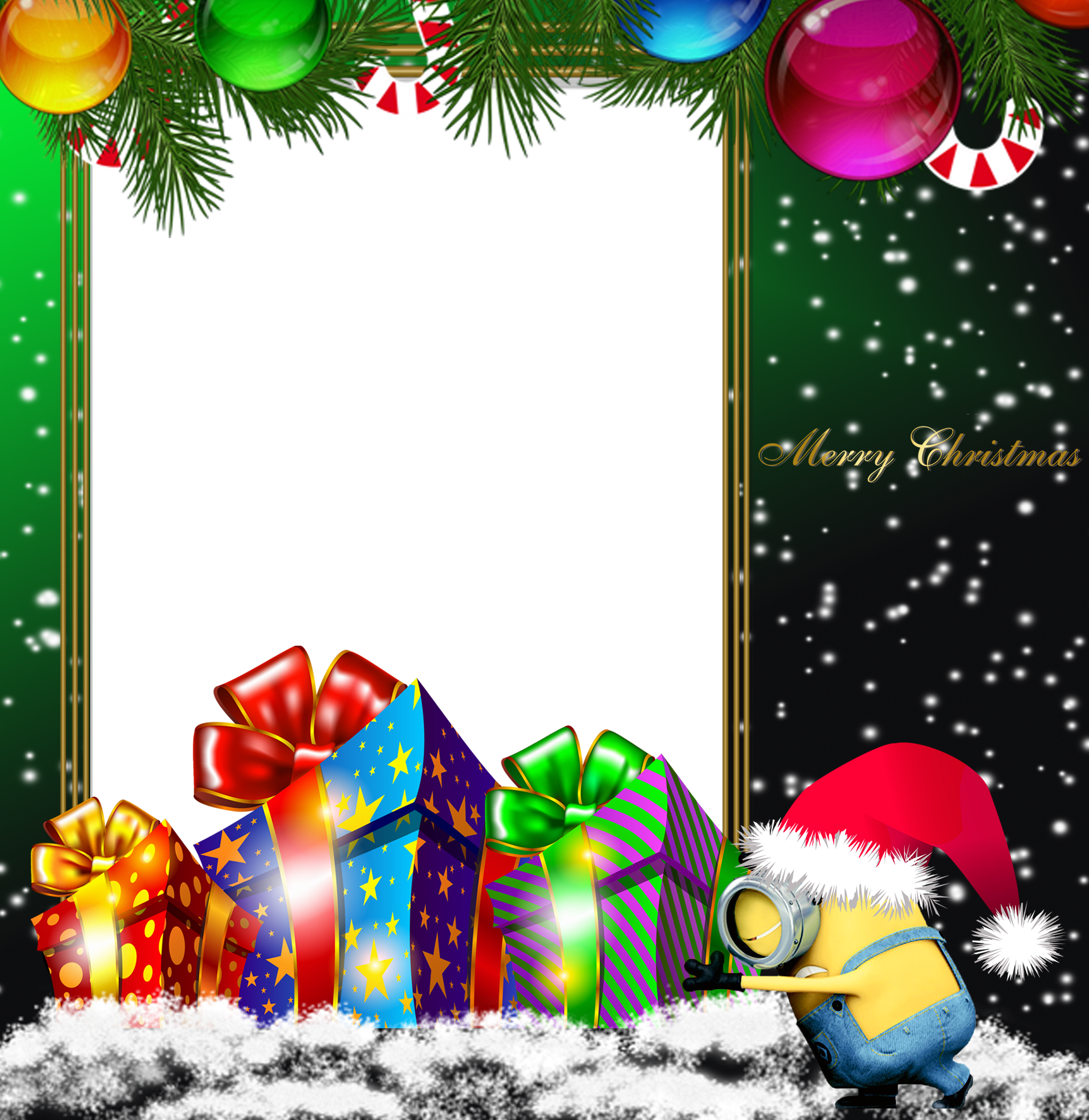 Merry Christmas Green PNG Minion Photo Frame | Gallery Yopriceville ...