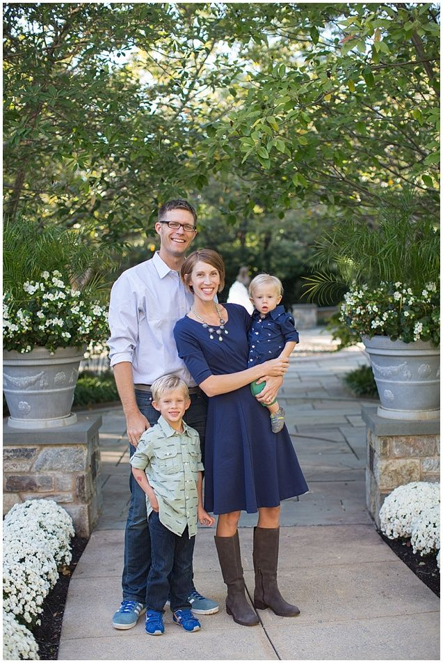 Dc family photographer fall family photos catholic university family of four navy blue outfit