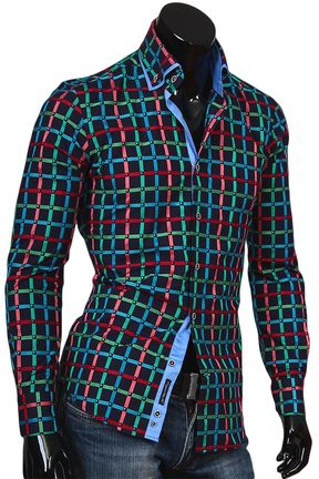 9387dd0fb81111f Купить Темно синяя мужская рубашка в клетку с двойным воротником фото  недорого в Москве