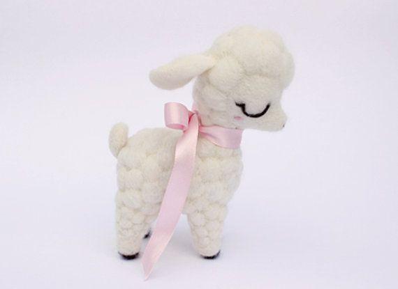 Needle Felted White Lamb