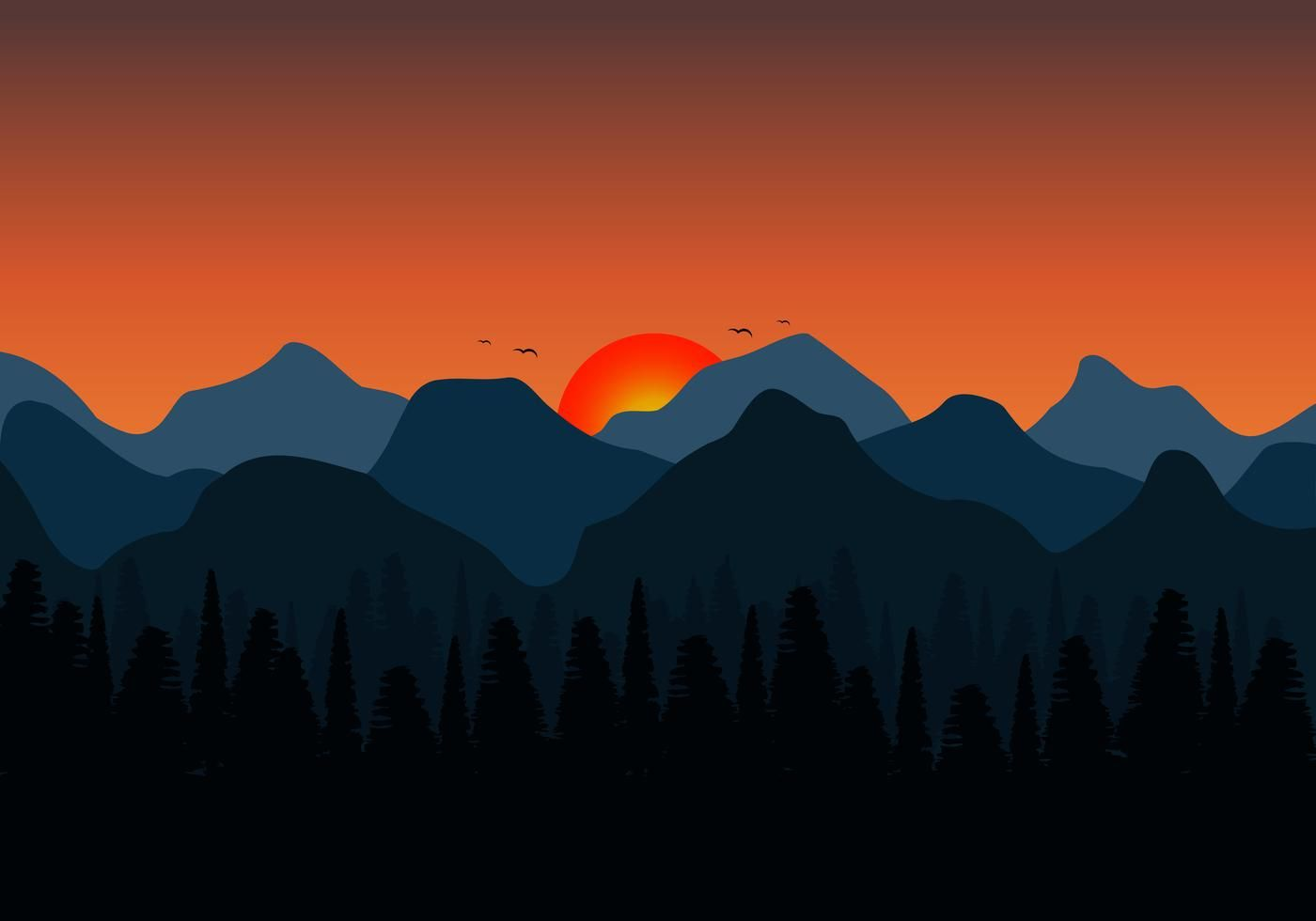 Nature Background Of Mountains Sunset Landscape Background And Silhouette Of Forest By Zenzeta Mou In 2020 Landscape Background Nature Backgrounds Sunset Landscape