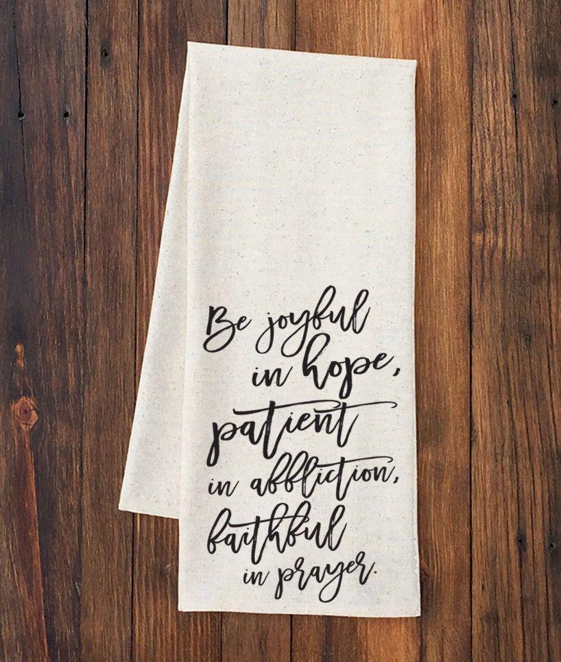 Tea Towel - Be Joyful in Hope - Screen Printed - present ...